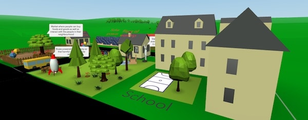 School and village simulated in 3D as virtual place-based learning activity