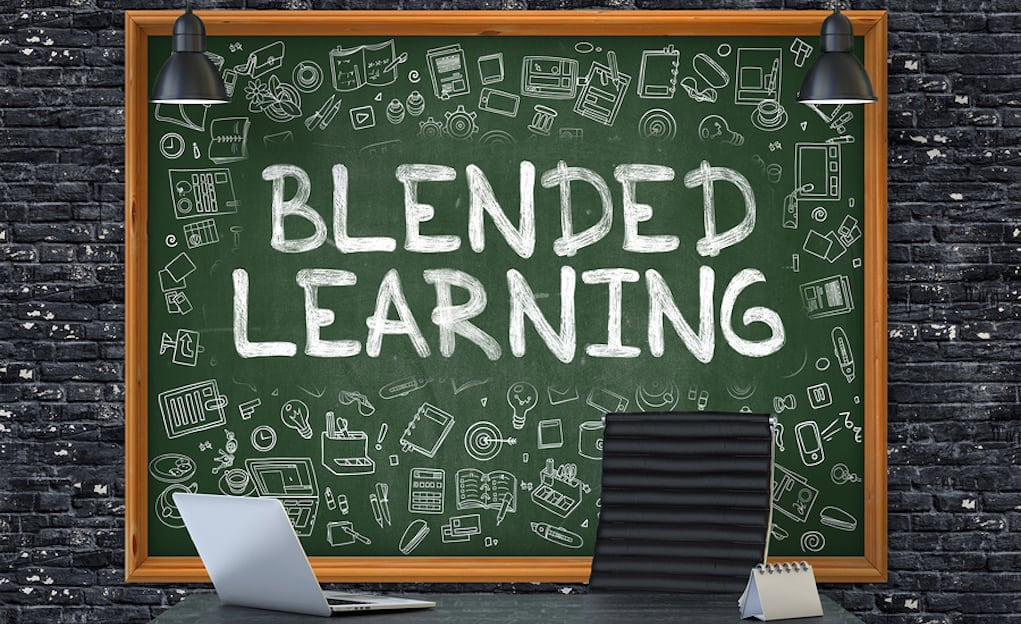 """Chalkboard with """"blended learning"""" written on it, which is a concept closely related to the i-ready math program. The chalkboard also has a number of doodles on it."""