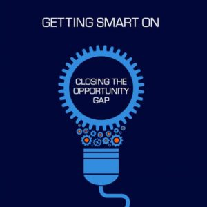 """Lightbulb with """"Closing the Opportunity Gap"""" in the center"""