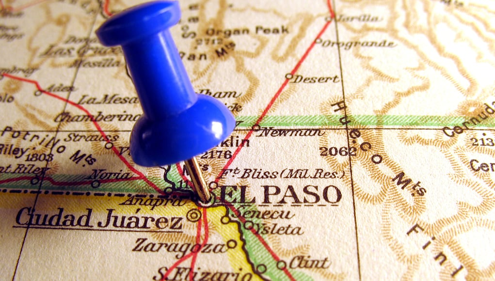 pin sticking out of el paso on a map of the border economy of EPISD
