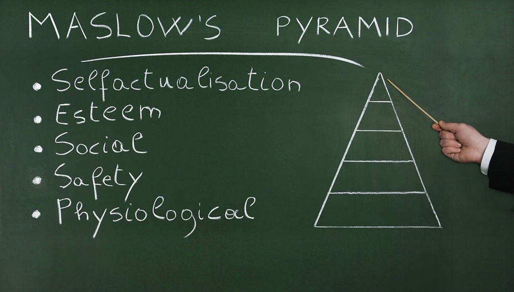 hand pointing to maslow's pyramid on a chalkboard in growth mindset lesson