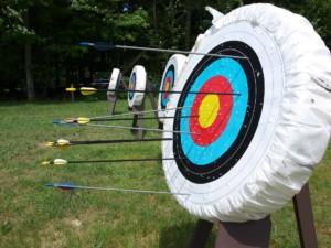 Arrows on archery targets