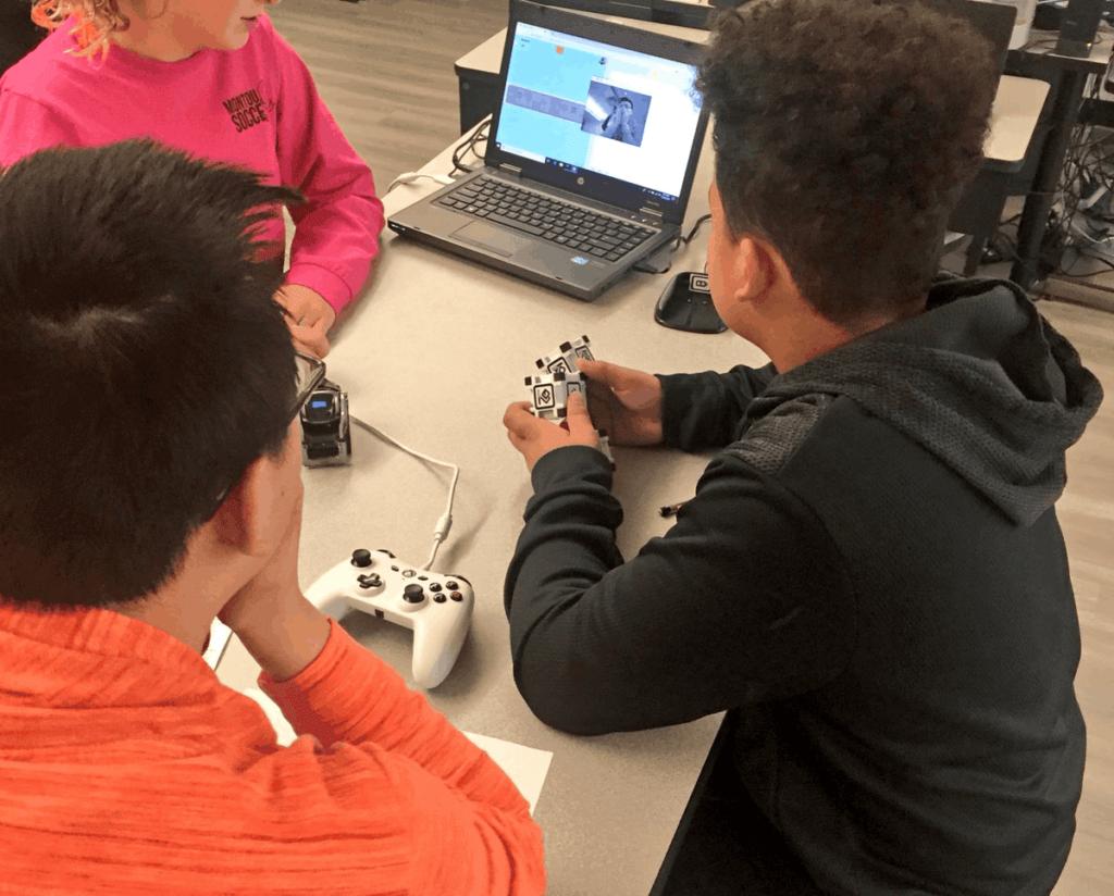 Montour School District Students coding a Cozmo robot (Justin Aglio)