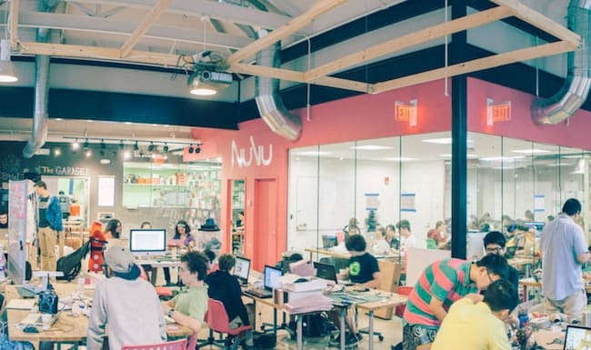 Nuvu students work in a fast-paced maker space